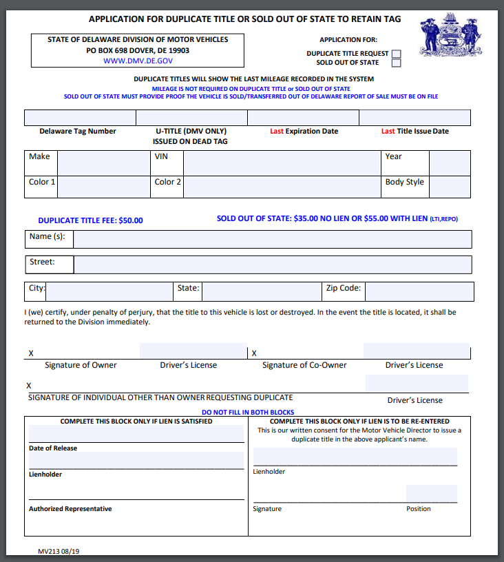 Application For Duplicate Title In Texas